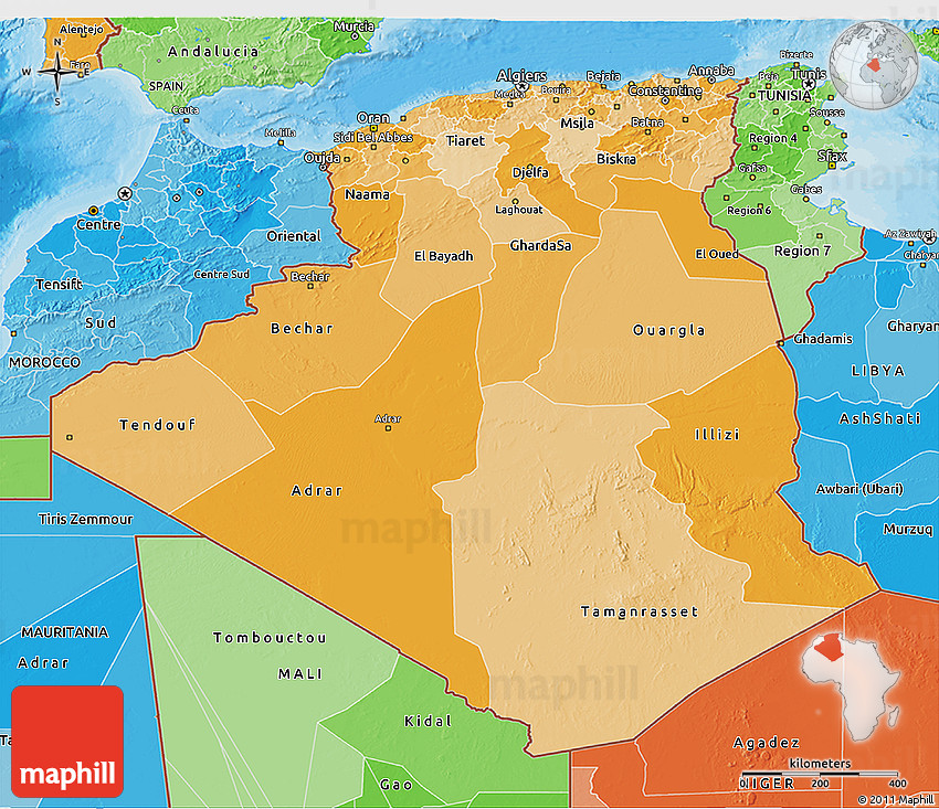 Political Shades D Map Of Algeria - Political map of algeria