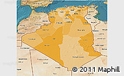 Political Shades 3D Map of Algeria, satellite outside