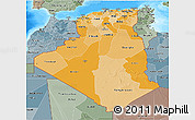 Political Shades 3D Map of Algeria, semi-desaturated, land only