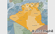 Political Shades 3D Map of Algeria, semi-desaturated