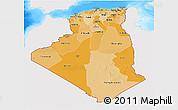Political Shades 3D Map of Algeria, single color outside, bathymetry sea