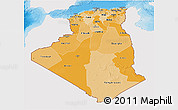 Political Shades 3D Map of Algeria, single color outside