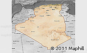 Satellite 3D Map of Algeria, desaturated