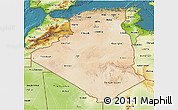 Satellite 3D Map of Algeria, physical outside, satellite sea
