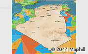 Satellite 3D Map of Algeria, political outside, satellite sea