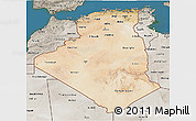 Satellite 3D Map of Algeria, semi-desaturated, land only