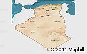 Satellite 3D Map of Algeria, single color outside