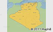 Savanna Style 3D Map of Algeria, single color outside