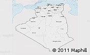 Silver Style 3D Map of Algeria, single color outside