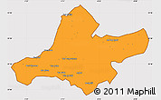Political Simple Map of Ain Tamouchent, cropped outside