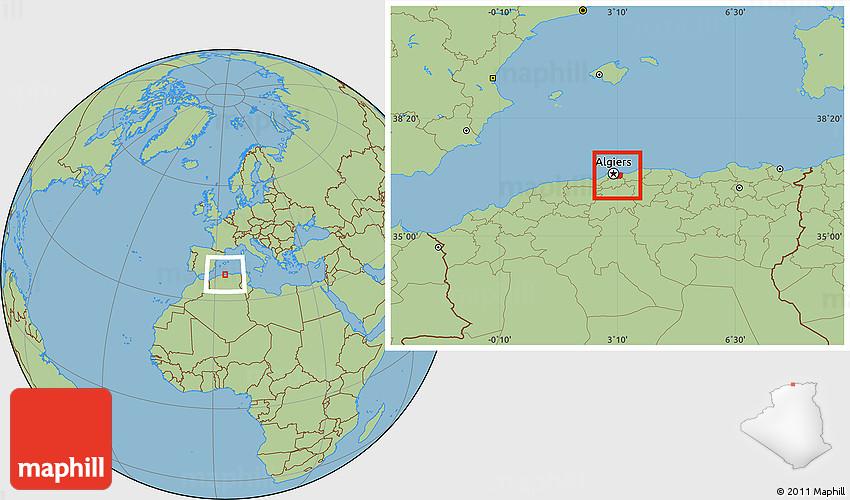 Savanna Style Location Map of Alger