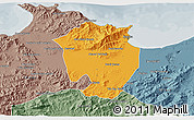 Political 3D Map of Annaba, semi-desaturated