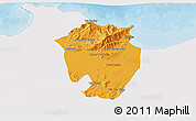 Political 3D Map of Annaba, single color outside