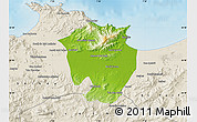 Physical Map of Annaba, shaded relief outside