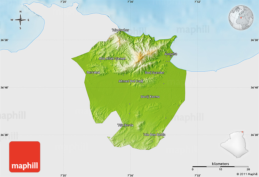 Physical Map of Annaba single color outside