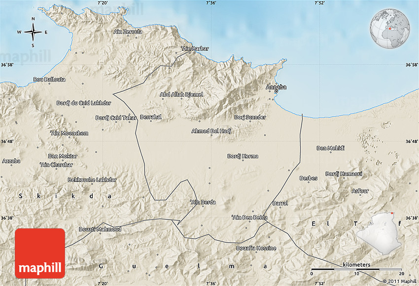 Shaded Relief Map of Annaba