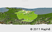 Physical Panoramic Map of Annaba, darken