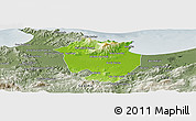 Physical Panoramic Map of Annaba, semi-desaturated