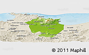 Physical Panoramic Map of Annaba, shaded relief outside