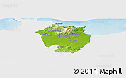 Physical Panoramic Map of Annaba, single color outside