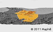 Political Panoramic Map of Annaba, darken, desaturated