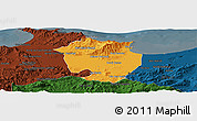 Political Panoramic Map of Annaba, darken