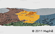 Political Panoramic Map of Annaba, darken, semi-desaturated