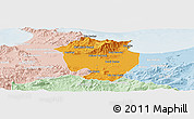 Political Panoramic Map of Annaba, lighten