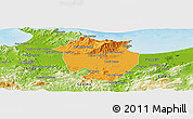 Political Panoramic Map of Annaba, physical outside