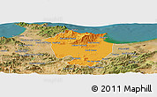Political Panoramic Map of Annaba, satellite outside