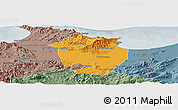 Political Panoramic Map of Annaba, semi-desaturated