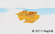 Political Panoramic Map of Annaba, single color outside