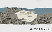 Shaded Relief Panoramic Map of Annaba, darken