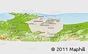Shaded Relief Panoramic Map of Annaba, physical outside