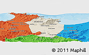 Shaded Relief Panoramic Map of Annaba, political outside