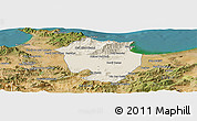 Shaded Relief Panoramic Map of Annaba, satellite outside