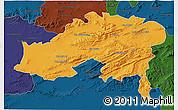 Political 3D Map of Batna, darken