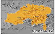 Political 3D Map of Batna, desaturated
