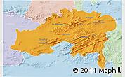 Political 3D Map of Batna, lighten
