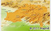 Political 3D Map of Batna, physical outside