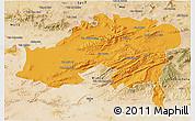 Political 3D Map of Batna, satellite outside