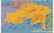 Political 3D Map of Batna, semi-desaturated