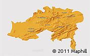 Political 3D Map of Batna, single color outside