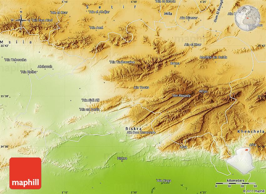 Physical Map of Batna