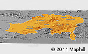Political Panoramic Map of Batna, desaturated