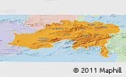 Political Panoramic Map of Batna, lighten