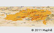 Political Panoramic Map of Batna, satellite outside