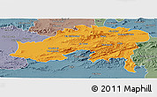 Political Panoramic Map of Batna, semi-desaturated