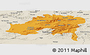 Political Panoramic Map of Batna, shaded relief outside