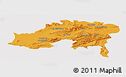 Political Panoramic Map of Batna, single color outside